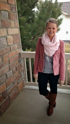 pink blazer, sequined top, infinity scarf, pink on pink, monochromatic, transitional dressing
