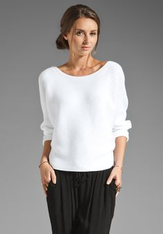Vince Horizontal Rib Dolman Sweater in White