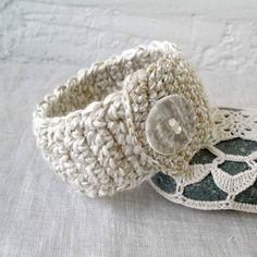 Crochet Bracelet - Cotton Crocheted Bracelet - Ivory - Chunky Fiber Art Bracelet - Soft Linen / Cotton Cuff Bracelet. $16.00, via Etsy.