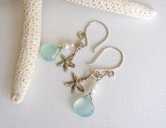 Sterling Silver, Aqua Chalcedony, and White Freshwater Pearl Earrings - Wish