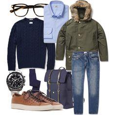 Parka jacket: Woolrich Cable knit sweater: Gant Rugger Shirt: Gherardi Jeans: Gant Rugger Glasses: Oliver Peoples Back Bag: Mismo Watch: O...