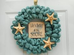 Beach themed wreath Beach wreath Nautical by ChloesCraftCloset