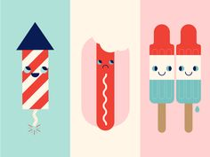 Fourth of July bomb pop sad happy illustration cute red white and blue america firework hot dog popsicle independence day of july Blue Fireworks, July Baby, Dog Illustration, Illustrations, Happy 4 Of July, Independence Day, Fourth Of July, Party Themes, Red And White