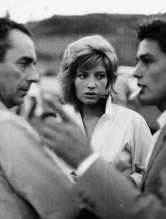 """Michelangelo Antonioni, Monica Vitti and Alain Delon while filming """"L'eclisse"""" (1962)."""