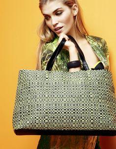 Geräumige Tasche mit grünen Neon-Effekten.: Ideal für den Strand oder ausgiebige Shoppingtouren!