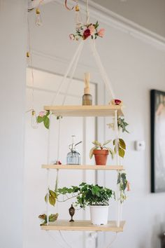 Tour a colorful, eclectic, plant-filled apartment in the Midwest. Tulsa couple Chuyi and Zach have decorated their Tulsa home with beautiful vintage rugs, DIY modern furniture and plants, plants and more plants. Macrame Plant Holder, Macrame Plant Hangers, Plant Holders, Plant Wall, Plant Decor, Colorful Plants, Plant Shelves, Hanging Plants, Potted Plants