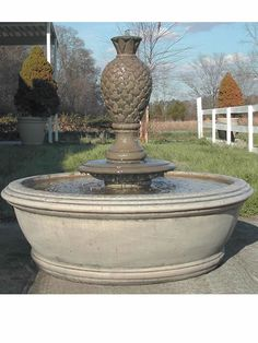 Cast Stone Finial Outdoor Fountain: Brookfield Company: Anderson with Cloud Finial