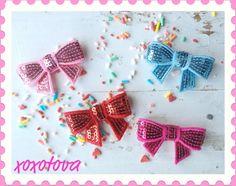 Glitter Glam BOW girls  clippies by xoxotova on Etsy, $12.00