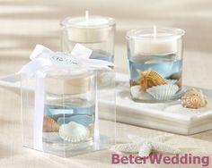 "Wedding favor ""Seashells"" Seashell Gel Tealight Holder LZ039 party, event, birthday gifts or decoration"