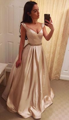 Elegant A-Line V-Neck Prom Dresses,Long Prom Dresses,Cheap Prom Dresses, Evening Dress Prom Gowns, Formal Women Dress,Prom Dress