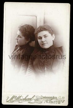 trick photography mirror image fashion lady Detroit   cabinet card c1880