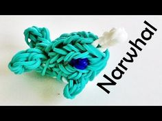 Rainbow Loom Whale / Narwhal (3D) charm / design made with loom bands tutorial by DIY Mommy.