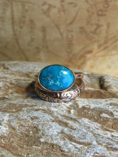 Handcrafted Turquoise and Hammered Goldfilled Ring. by Jewelriart on Etsy https://www.etsy.com/listing/248760311/handcrafted-turquoise-and-hammered