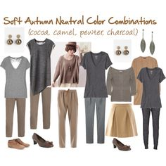 """Soft Autumn Neutral Color Combinations"" by jeaninebyers on Polyvore"