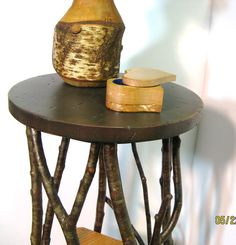 WOOD PLANT STAND / Side Table / Occassional Table / Folk Art / Primitive / Reclaimed Lumber / Twigs / Tramp Art $49.00