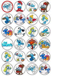 24 X The Smurfs Wafer Rice Paper Cake Bun Top Toppers cakepins.com