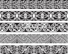 Maori Kowhaiwhai seamless design patterns in black.