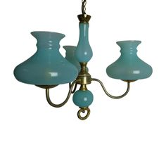 Vintage French 3 Arm Chandelier In Blue