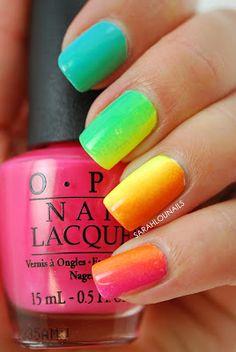 Suzi's Hungary Again! in a neon rainbow gradient. Hot!