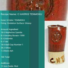 Harris tenmoku red. Original recipe cone 6