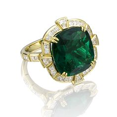 This unique, high jewelry ring has been created especially to celebrate The Savoy Hotel's 125th anniversary year. Named after theatrical impresario, Richard D'Oyly Carte, who built The Savoy, the piece incorporates a magnificent 11.49 carat untreated Colombian emerald chosen to represent the hotel's brand color through its deep green appearance. Set in a yellow gold and diamond 'Keystone' design, the ring's setting takes inspiration from the hotel's sign composition.