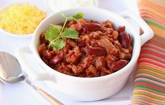 Super hearty 'n healthy beef #chili recipe… in today's HG! #gameday #party