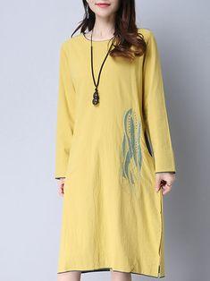 Folk Style Women Short Sleeve Embroidery Irregular Hem Dresses
