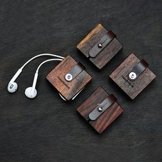 Wood wrapped earbuds Lether Cable Holder .cord by Needleworkx