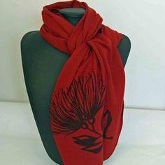 Ultrafine NZ Merino Scarves in pohutukawa design