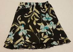 Women's Briggs New York Petite Black & Floral Chiffon Skirt Size Medium 6-8 #85 in Clothing, Shoes & Accessories, Women's Clothing, Skirts | eBay