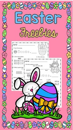 Easter Math for 2nd grade---FREE math---counting money, place value, 3-digit addition & subtraction