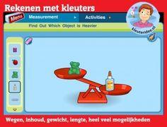 Rekenen met kleuters op digibord of computer, wegen, inhoud, lengte, kleuteridee, Kindergarten math game for IBW or computer