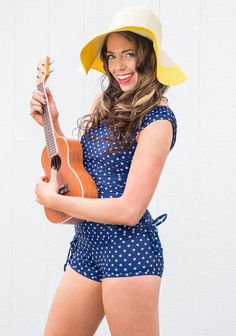 """Linda"" Modest Tankini Top in Navy Polka Dot i want this swim suit soooo bad!!!"