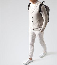 Mens Grey Shawl Collar Cardigan - Reiss Kingsland