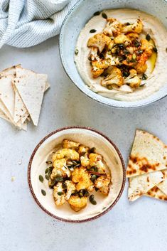 Roasted Cauliflower Hummus Bowls are perfect for lunch, a snack, or a party platter! Protein-packed hummus topped with roasted cauliflower and toasted pumpkin seeds for a deliciously different meal. #vegan #vegetarian #hummus #cauliflower #bowls #recipe #healthy #easy #vegan #glutenfree #plantbased #hummus Veggie Recipes Healthy, Delicious Vegan Recipes, Lunch Recipes, Appetizer Recipes, Whole Food Recipes, Vegetarian Recipes, Appetizers, Party Recipes, Vegan Meals