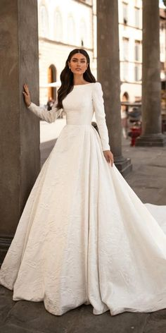24 modest wedding dresses of your dream wedding dresses guide weddingdresses modest wedding dresses with long sleeves a line simple millanova 36 lace wedding dresses that you will absolutely love Purple Bridesmaid Dresses, Top Wedding Dresses, Wedding Dress Trends, Bridal Dresses, Dresses Dresses, Long Dresses, Long Sleeved Wedding Dresses, Boho Bridesmaids, Modest Wedding Gowns