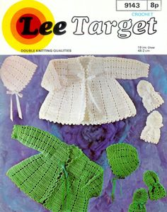 PDF of Vintage e BABY Crochet Patterns - LT 9143 - Crochet Jacket Bonnet & Mittens 2 styles in DK 8 ply yarn for size 19 ins    NB: 2 Versions of this PDF is attached. One is a reduced PDF which will download very quickly; if you have problems viewing this then the normal PDF is also here. U.S. YARN EQUIVALENT  Please check the tension/gauge provided in the listing against yarn label:  3ply = Super fine Sock. Baby or fingering  4ply = Fine sports weight yarn  DK/QK &#...