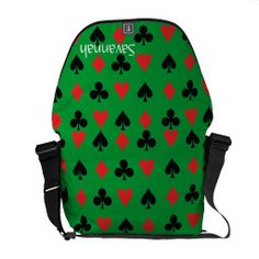 Poker Card Suits Courier Bag - $126.00 - Poker Card Suits Courier Bag - by RGebbiePhoto @ zazzle - Heart, Club, Spade and Diamond in Red and Black. Poker players or card players will enjoy this repeating pattern. Great for Las Vegas theme gambling nights, or just for fun!