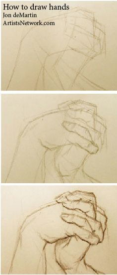 So helpful! A lesson on how to draw hands by Jon deMartin, author of Drawing Atelier: The Figure | ArtistsNetwork.com #drawing #figure #art #hands
