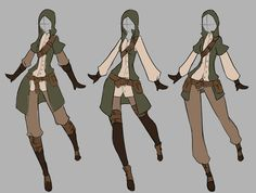 April Commission - 7 by rika-dono.deviantart.com. Oh man, I want a combo of all these outfits for a larp character. I want the top from girl one, and the bottoms (for interchanging) of all three! Lol!