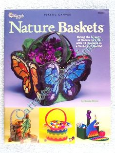 free+plastic+canvas+butterfly+patterns | Details about Plastic Canvas Pattern Nature Baskets Bright