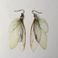 Completely hand-made earrings, with silk organza butterfly, cicada and moth wings. I chose wings images one by one, from real pictures and
