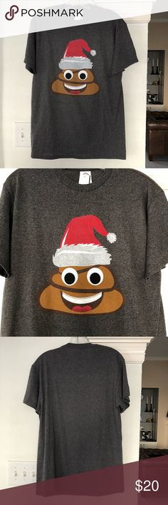Santa Poop 💩 T Shirt Tacky Christmas Top 🎄 Funny Santa Poop t shirt in gray perfect to pair with an ugly Xmas sweater, unisex can fit guys and girls 😊 Urban Outfitters Tops Tees - Short Sleeve