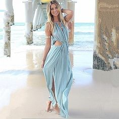 Women's Sexy V Neck Lace Up Asymmetrical Beach Dress - USD $ 23.99