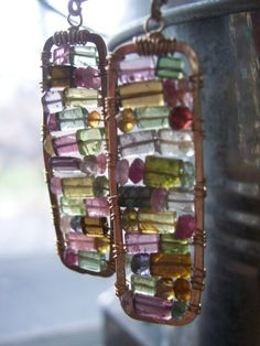 Tourmaline Mosaic Earrings Stained Glass by dnajewelrydesigns