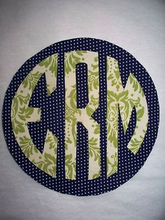 monogrammed applique t-shirt... I have this design but never thought to use two fabrics!