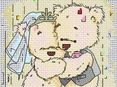 free cross stitch patterns in pdf format with Teddy bears wedding