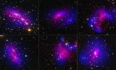 Imágenes de seis diferentes cúmulos de galaxias tomadas con el telescopio espacial Hubble de la NASA (azules) y el Observatorio Chandra x-Ray (rosa) en un estudio de como se comporta la materia oscura  en las galaxias cuando chocan los racimos. Crédito de la imagen: La NASA y la ESA