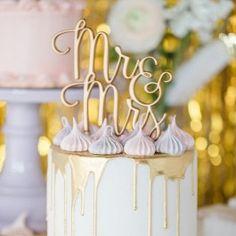 Cake Topper Mr & Mrs gold