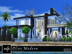 Olive Modern house by mlpermalino at TSR via Sims 4 Updates